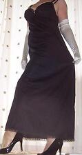 Black silky nylon long lace bra full slip~nightie X~Large plus size  BNWOT