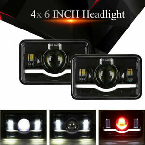 2X LED Headlights For Freightliner FLD120 FLD112 4x6'' Light Hi/Lo Sealed Black