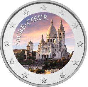 2 Euro Gedenkmünze mit Sacre Coeur coloriert mit Farbe  /  Farbmünze Frankreich