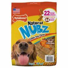 Nylabone Natural NUBZ Edible DOG TREATS 2.6 lbs Real Chicken 22 Large Chews New