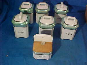 7 Pc 1930s KIDS PORCELAIN Play Set KITCHEN CANNISTER SET Made in JAPAN