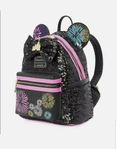 Disney Minnie Main Attraction  Backpack Nighttime Fireworks Castle Loungefly