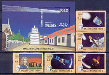 Raumfahrt, Space, Halleyscher Komet - Malediven - 1164-1168, Bl.116 ** MNH 1986