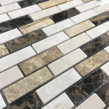 Brown Cream Beige Rectangle Stone Mosaic Tile Sheet Bathroom Kitchen Wall Mosaic