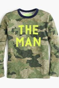 Crewcut kid boy long sleeve graphic top tee Shirt The Man Camouflage Camo 8 Glow