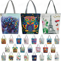 Women's Canvas Tote Shoulder Handbag Owl Travel Shopping Satchel Folding Bags