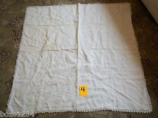 "Vintage 40"" Cream Color Fine Linen Square Tablecloth Crochet Edges Topper Table*"