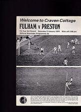 Fulham v Preston FA Cup 3rd Round Program January 5 1974 Craven Cottage