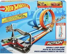 Hot Wheels Double Loop Dash Side-By-Side Drag Race With 2 Cars GFH85 easy carry