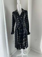 Diane Von Furstenberg Black & Ivory Sateen Long Sleeve Wrap Shirt Dress 4 S