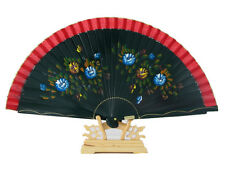 Chinese Hand Held Fan, Spanish Style, - Hand Painted Pattern on Green Ribs