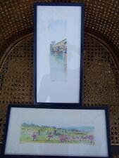 2 aquarelles Ponte Vecchio Florence + paysage Toscane signées ASSO ( 1989)