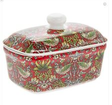 William Morris Strawberry Thief Design China Butter Dish Ceramic with Lid Boxed