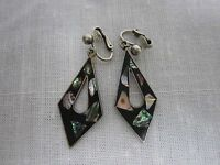 MEXICO STERLING SILVER BLACK ONYX W/ MOTHER OF PEARL INLAY CLIP ON EARRINGS
