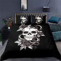 Wonderful White Skull Flower 3D Quilt Duvet Doona Cover Set Pillow case Print