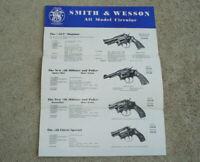 ORIGINAL Vintage S&W 1950s Catalog Brochure Smith & Wesson REVOLVERS PISTOLS