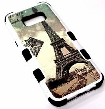For Samsung Galaxy S8+ PLUS - Eiffel Tower Paris Stamp Hybrid Rubber Armor Case