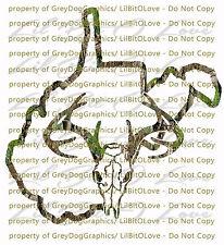 Camouflage Camo West Virginia Buck Skull Deer Hunting Vinyl Decal Hunt Sticker
