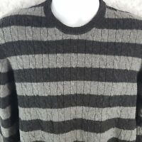 Brooks Brothers Scottish Lambswool Knit Sweater Black Gray Stripes Sz Medium M