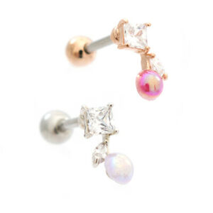 Opalite Cherry Top Cubic Zirconia Design Ear Cartilage Barbell 16g Surgical St.