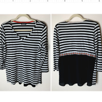 Papermoon Stitch Fix Women's Top Size Medium Mixed Material V-Neck 3/4 Sleeves