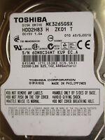 """320 GB Toshiba MK3265GSX GJ001Q KU9 HDD2H83 2,5"""" disco rigido 010 PCB OK"""