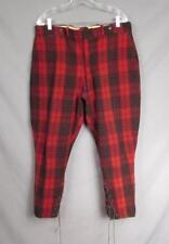 VINTAGE 1930s Lana Rojo / Negro Buffalo Plaid CAZA Pantalones Legging 36