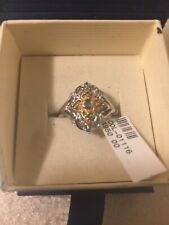 10k white and yellow gold diamond and emerald ring