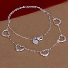 925 Sterling Silver Plated Five Floating Heart Pendant Necklace Chain