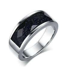Mens Wedding Anniversary Stainless Steel Blue Sandstone Ring Band 8MM Size M-T