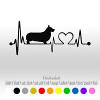 "7"" Corgi heartbeat Heart Dog Car Window Diecut Vinyl Decal sticker"