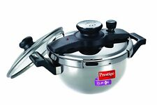 Prestige Clip On Stainless Steel Kadai Pressure Cooker with Glass Lid Accessory,