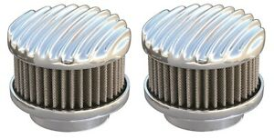 Pair Polished Finned 2 Barrel Air Cleaners - Show Quality 94, 97, & 98 Carbs