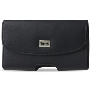 Reiko Full Leather Black Large Belt Clip Cell Phone Pouch fits Thick Case