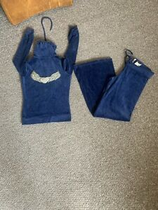 Twisted Heart Tracksuit Bottoms And Hooded Jacket Blue Velour Crystal