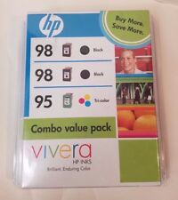 HP Vivera 98 Black 95 Tri-Color Combo Value Three Pack Printer Ink Expired