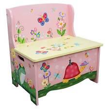 Magic Garden Kids Storage Bench Pink Seat Childrens Bedroom Fantasy Fields
