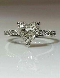 1.80ct Heart Shape Diamond Engagement ring/White gold
