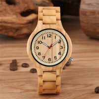 Men Natural Wood Watch Full Bamboo Quartz Analog Wrist Watches Wooden Band Gift
