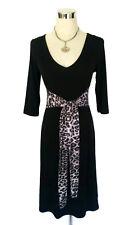 LEONA EDMISTON Ruby Dress- Black Leopard Animal Print Belt Tie 3/4 Vintage- XS/8