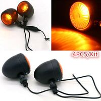 4x Black Motorcycle Turn Signal Indicator Light Lamp Bulb For Classic Cafe Racer