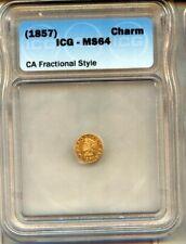 1857 CALIFORNIA bear 1/4 GOLD TOKEN CHOICE-GEM - ICG MS64 - RARE  !