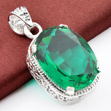 Topaz Gems Silver Necklace Pendant Awesome Holiday Gift Rectangle Shaped Emerald