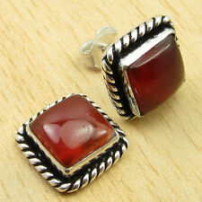 RED FIRE CARNELIAN INEXPENSIVE STUD Earrings 3/8 Inches ! Silver Plated Jewelry