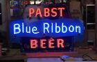 "Antique Pabst Blue Ribbon PBR Porcelain Enameled Neon Advertising Sign 45x30"""