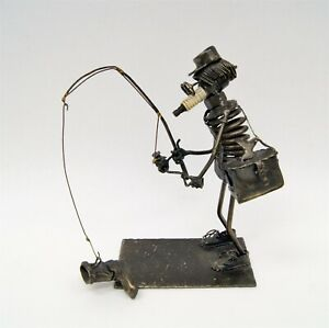 "Ken Moore 1972 ""Unlucky Fisherman"" Welded Folk Art Metal Sculpture Spark Plug"