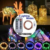 50/100/200LED USB Remote Micro Copper Wire String Lights Xmas Party Fairy Light
