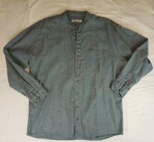 Civilian Authentic Cotton Irish Grandfather Shirt Men's Blue Large
