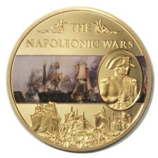 St. Helena Napoleonic Wars Battle of Trafalgar 25 Pence 2013 Gold-plated Colored