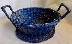 Small VINTAGE BASKET Worn Blue Paint PRIMITIVE